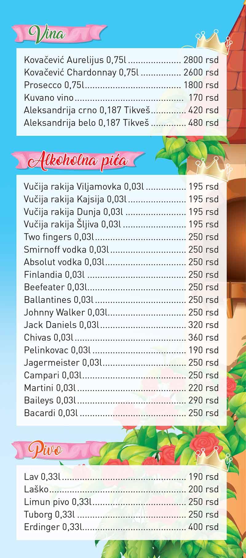 Cene pića u igraonici Samba Queens